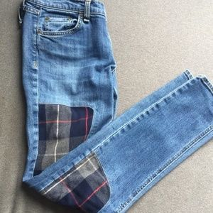 Rag and bone dre patched knee plaid Jean's 27